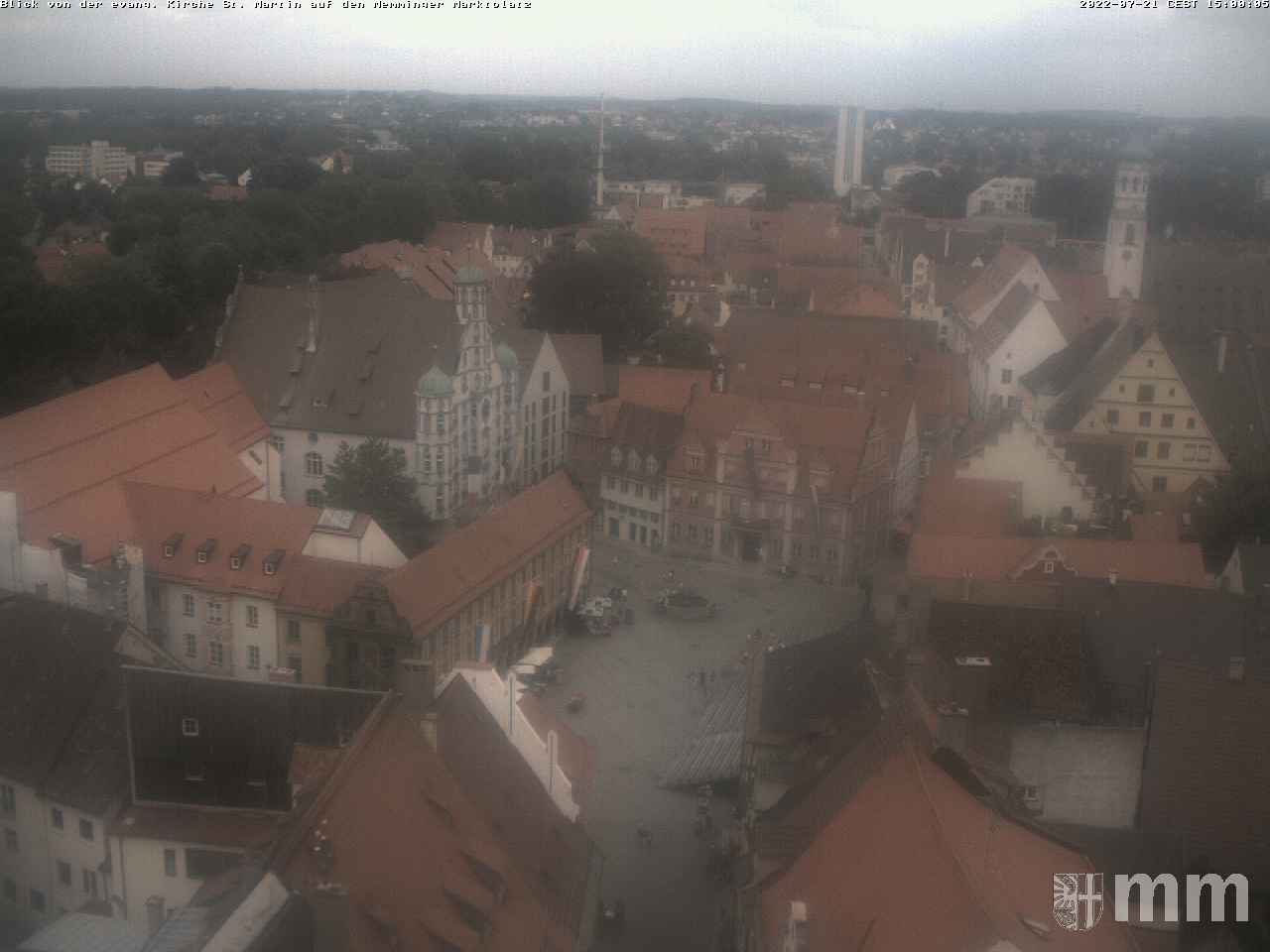 Panoramawebcam: Blick von der evang. Kirche St. Martin auf den Memminger Marktplatz