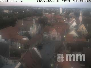 Blick vom Martinsturm auf den Memminger Marktplatz